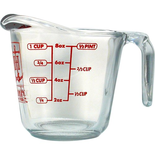 Anchor Hocking 1-cup Decorated Glass Measuring Cup