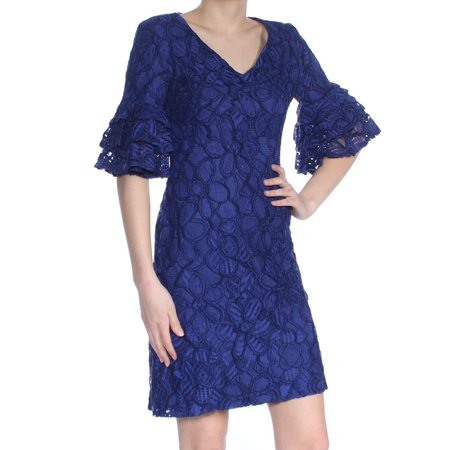 RALPH LAUREN Womens Blue Floral Ruffle Sleeve Lace V Neck Above The Knee Sheath Party Dress  Size: 0](Ralph Lauren Halloween Party)