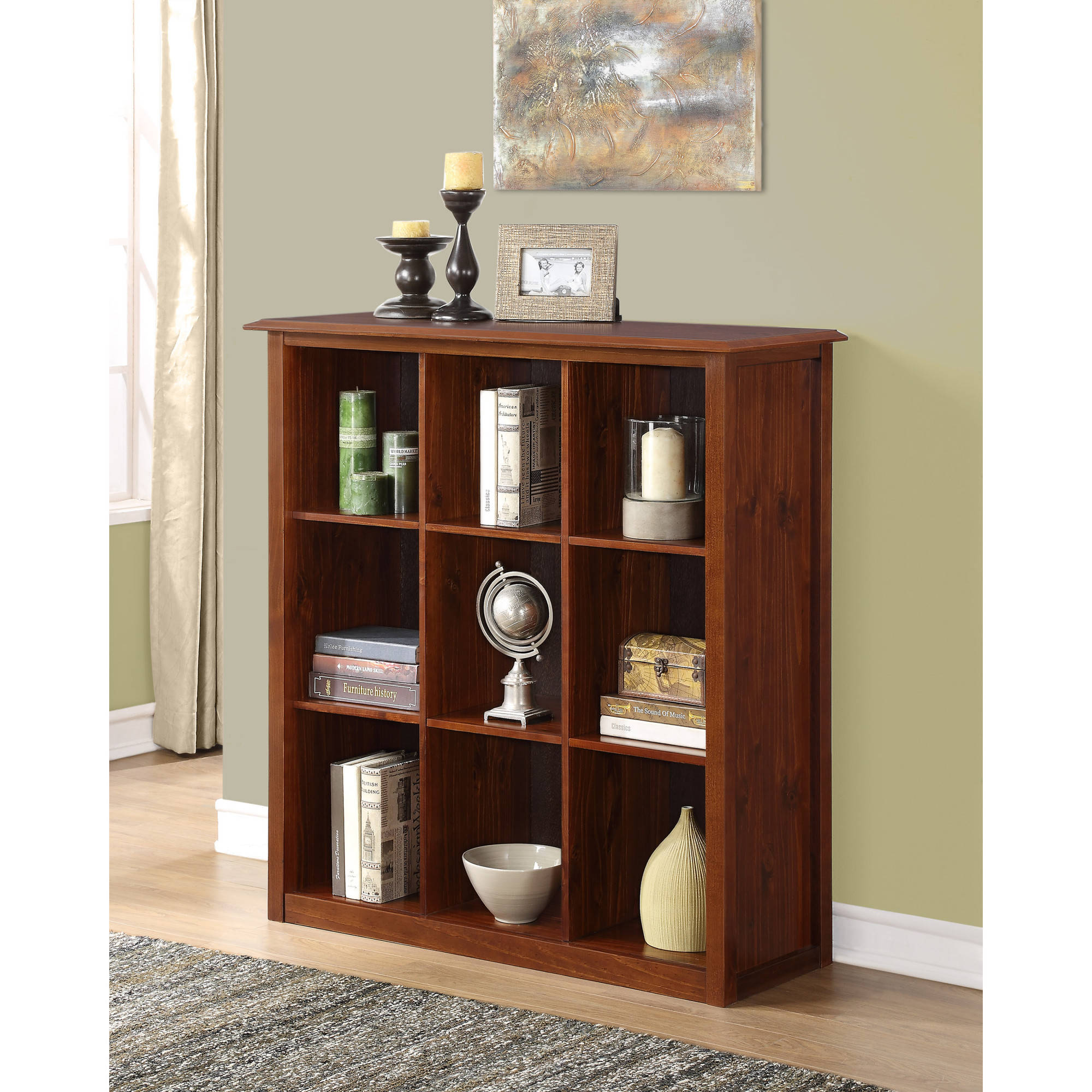 Brooklyn + Max Thornton Collection Medium Mahogany Brown 9-Cube Bookcase and Storage Unit