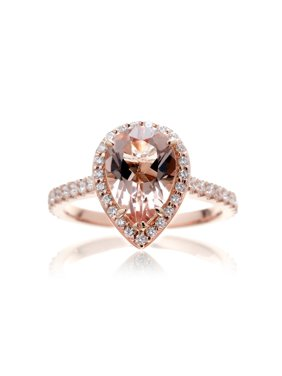 2.25 Carat Pear Cut Morganite and Moissanite Classic Halo Engagement Ring On 18K Rose Gold Over Silver