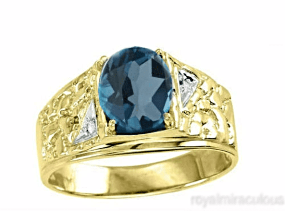 Mens Blue-Topaz & Diamond Ring 14K Gold Yellow Band December Birthstone by Elie Int.