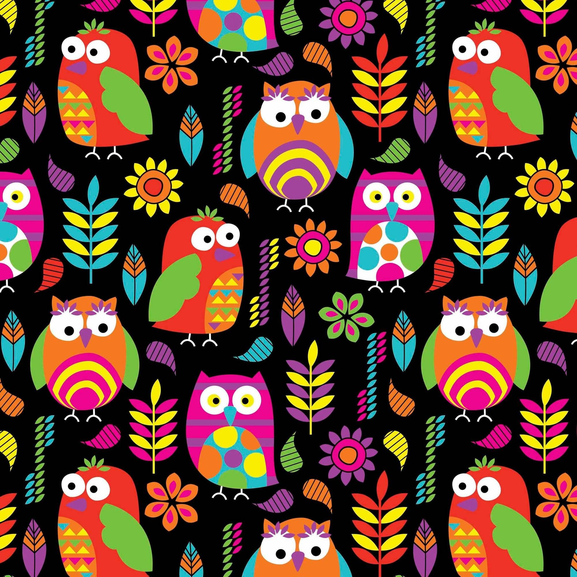 "Ultra Soft ""Heavenly Plush"" Fabric By The Yard, Bright Owls On Black"