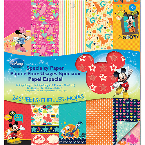 "Disney Double-Sided 12"" x 12"" Specialty Paper Pad, 24 Sheets, Mickey Family"