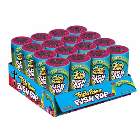 Triple Power Push Pop, Three-in-One Flavor Lollipops, 19 Oz, 16 (Push Pop Candy)