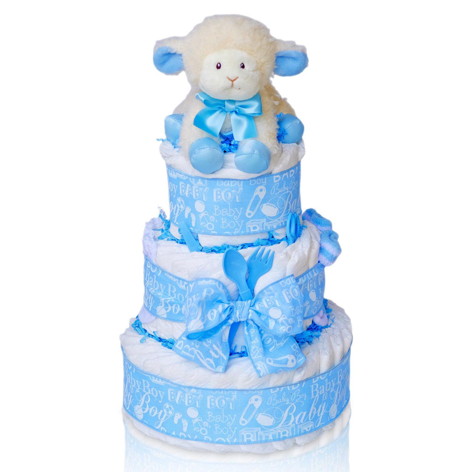 Cashmere Bunny Sweet Baby Boy Three Tier Diaper Cake Gift...