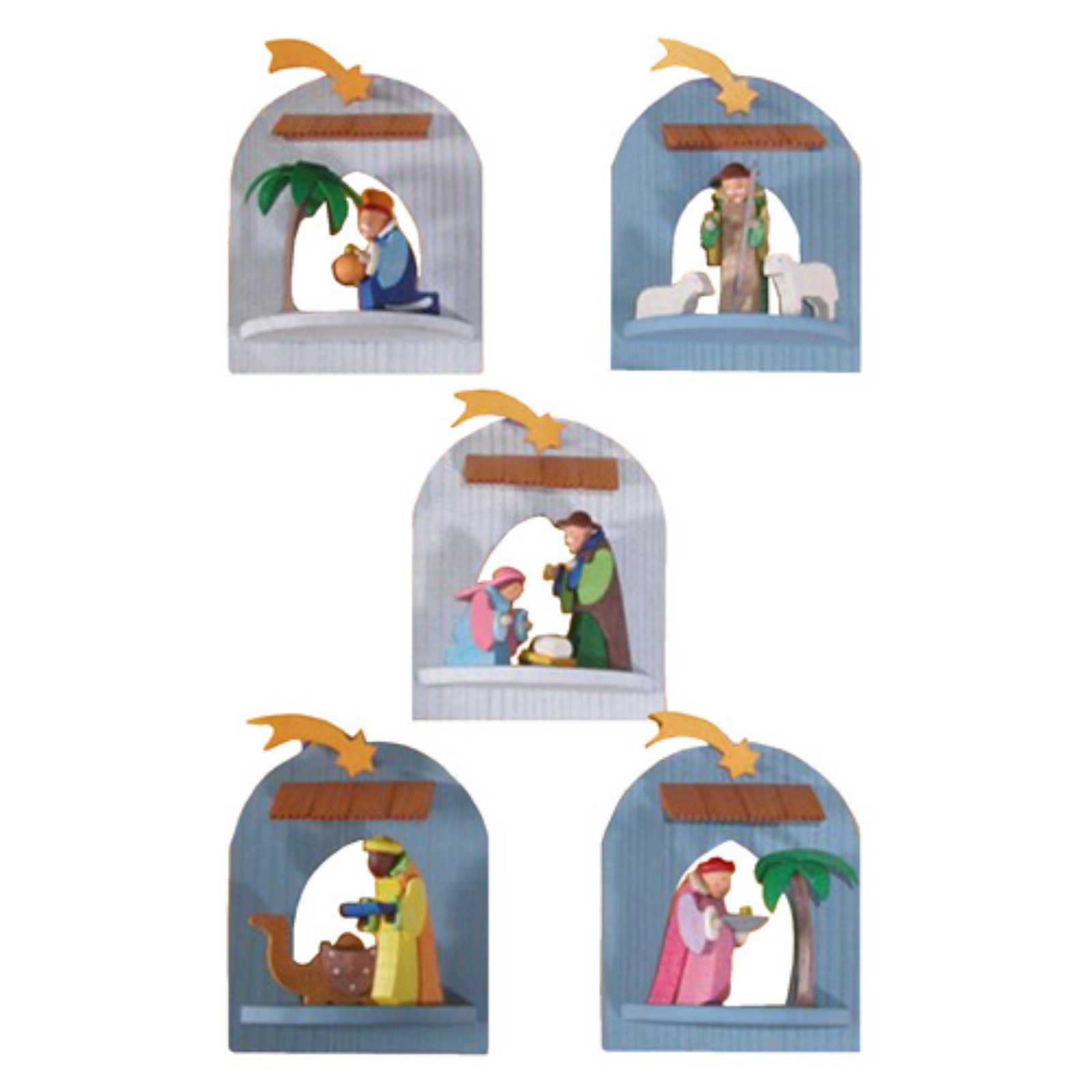 Graupner 3.25 in. Assorted Nativity Scene Ornaments - Set of 5