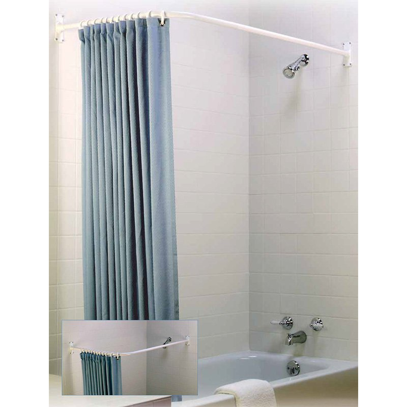 Zenith Products L Shaped Shower Rod White Walmart Com