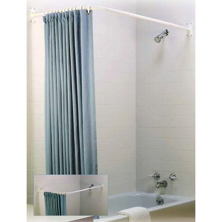 L Shaped Shower Rod White