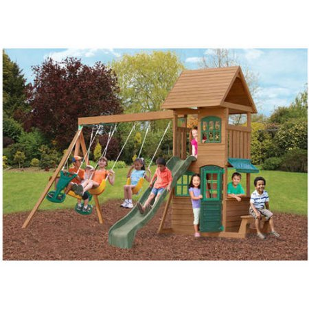 kidkraft windale wooden cedar swing set