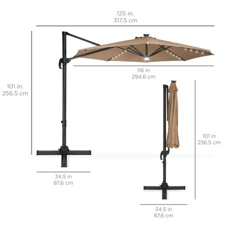 Best Choice Products 10ft 360-Degree LED Cantilever Offset Hanging Market Patio Umbrella w/ Easy Tilt - Tan