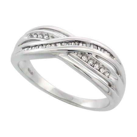 Sterling Silver Diamond Ring Criss Cross Pattern 0.16 cttw 1/4 inch (6.8 mm) wide, sizes 5.5 - - Diamond Accent Criss Cross Ring