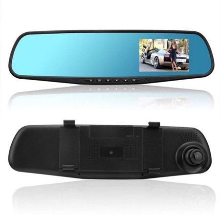 CHLTRA Dual Lens Car DVR Reverse and Rear View Camera Kit HD LCD Mirror Monitor Dash Camera ()