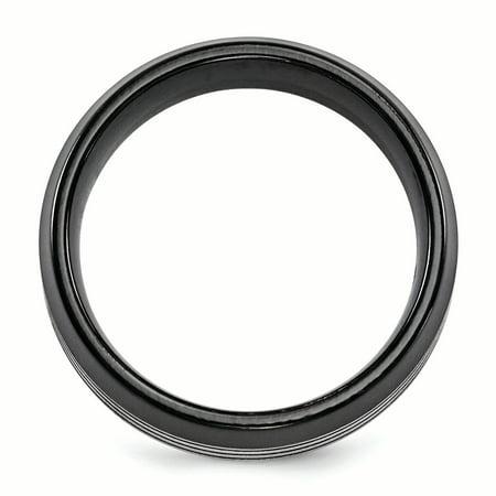 Edward Mirell Titanium Black Ti Flat Top Beveled Edge 8mm Band Size 8 - image 3 of 4