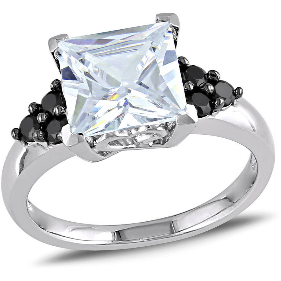 Asteria 5-2/5 Carat T.G.W. Black and White Cubic Zirconia Sterling Silver Engagement Ring