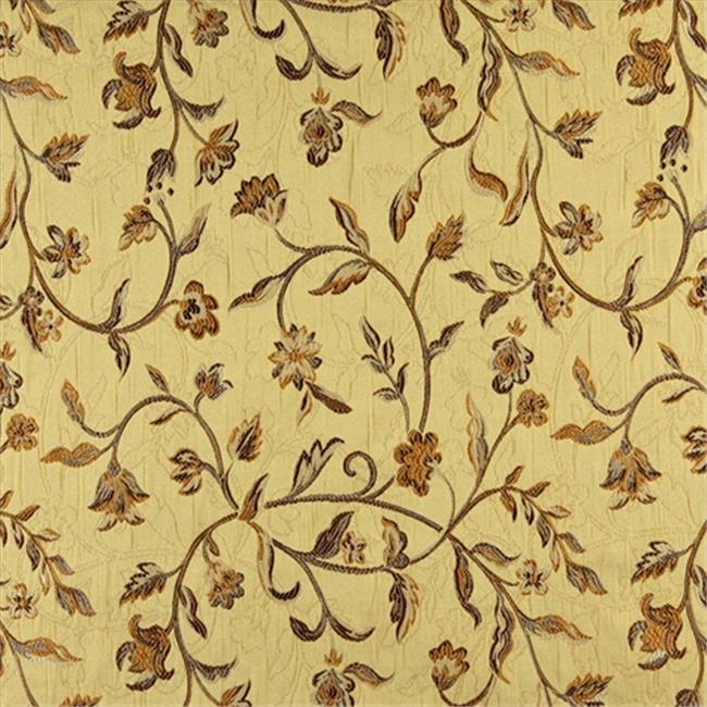Designer Fabrics K0011H 54 inch Wide Gold, Brown And Ivory Embroidered, Floral Brocade, Upholstery And Window Treatments