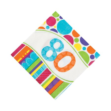 Bright & Bold 80th Birthday Luncheon Napkins - 80th Birthday Celebrations