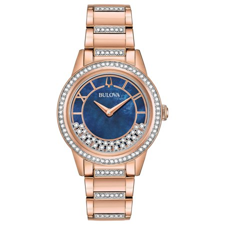 Bulova Women's Rose-Gold Turnstyle Crystal Accent Watch with Mother-of-Pearl Dial 98L247