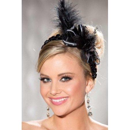 Shirley of Hollywood Black Feather Headband 924 Black