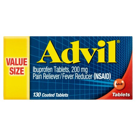 Advil (130 Count) Pain Reliever / Fever Reducer Coated Tablet, 200mg Ibuprofen, Temporary Pain