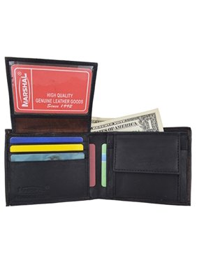 Men's Genuine Leather Bifold ID Credit Card Holder Wallet W/Coin Pouch (Black)