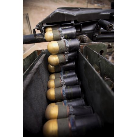 Linked 40mm rounds feed into a Mark 19 grenade launcher Canvas Art - Stocktrek Images (23 x -