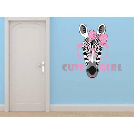 Do It Yourself Wall Decal Sticker Zebra Girl With Sunglasses Bow 20 (Sunglasses Stickers)