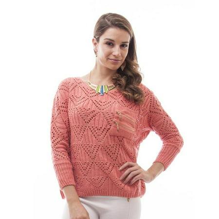 600ec0699 SOHO - Women Boxy Open Knit Sweater (One Size) - Coral - Walmart.com