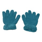 Girls Teal Solid Color Fuzzy Texture Winter Gloves