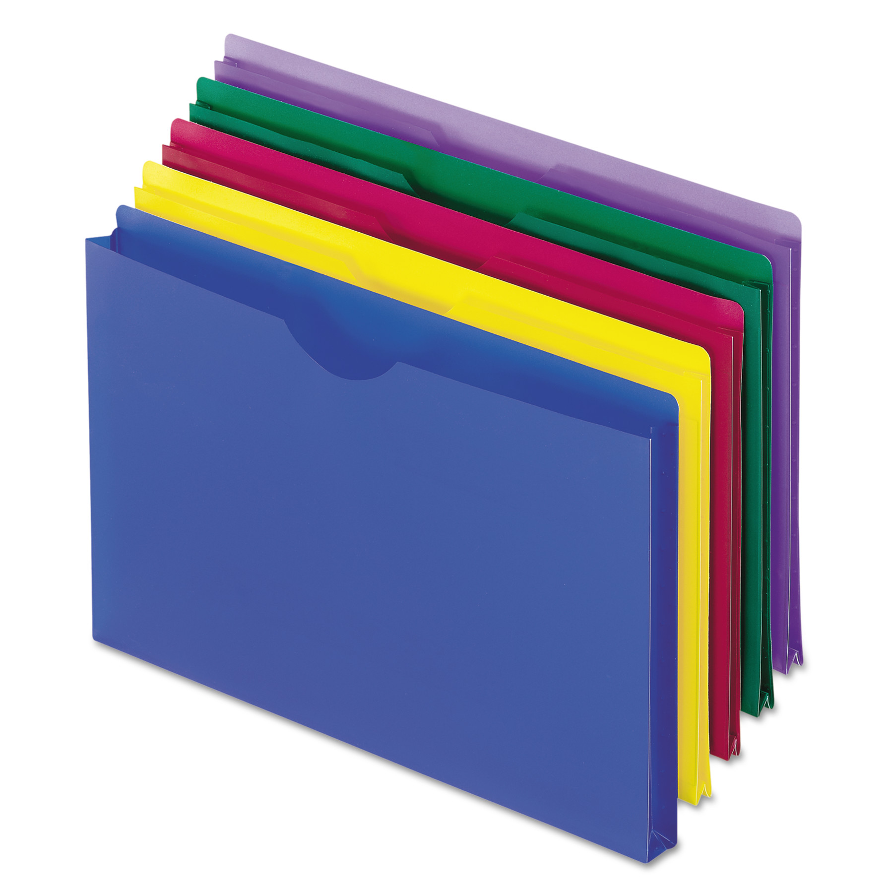 Pendaflex Expanding File Jackets, Legal, Poly, Blue/Green/Purple/Red/Yellow, 5/Pack