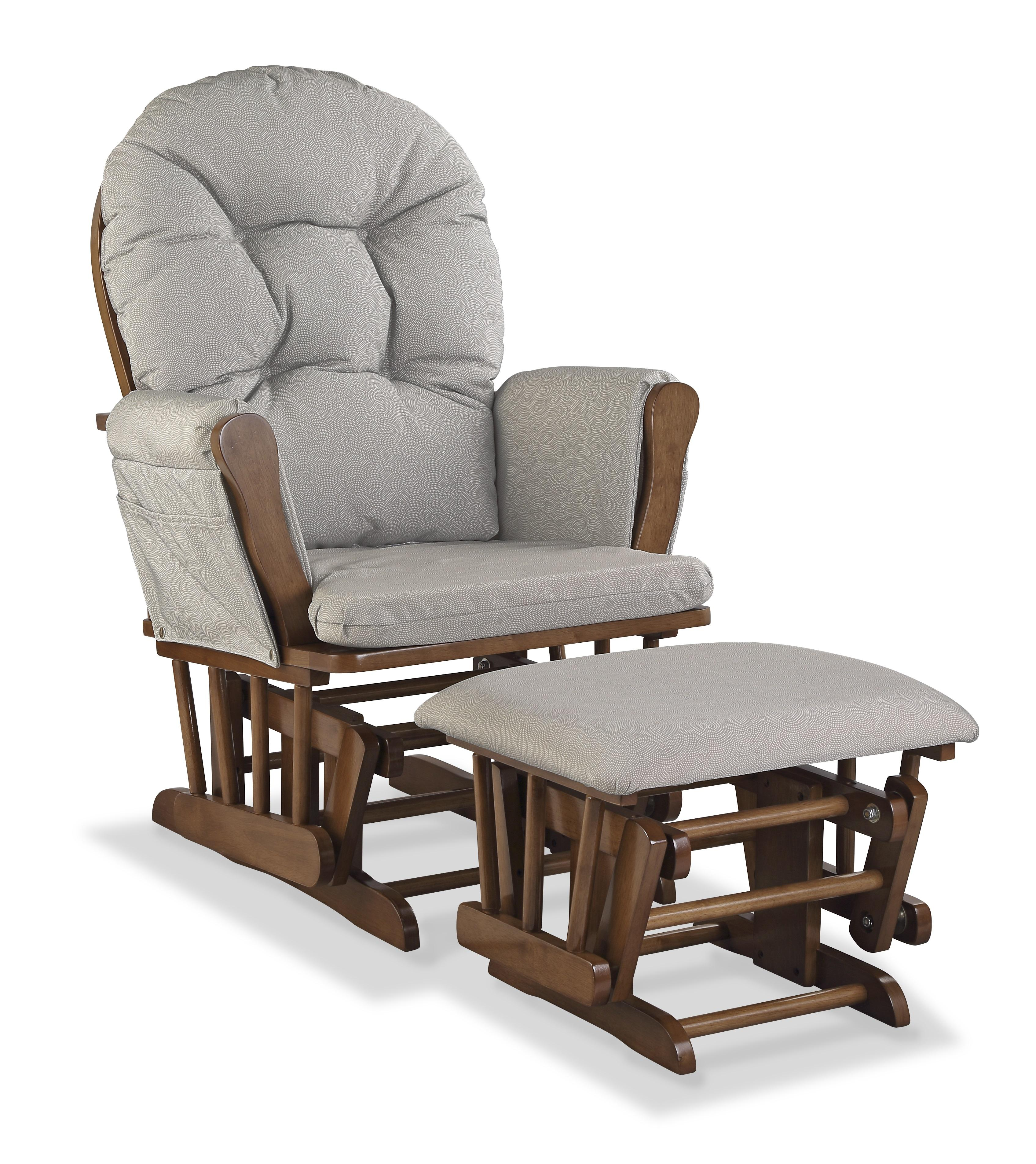 Stork Craft Custom Hoop Glider & Ottoman-Color:Taupe Swirl,Finish:Dove Brown