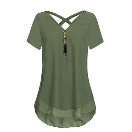 d85debd9 UKAP - Women's Sexy Short Sleeve Zipper Crisscross Strappy Soft Blouse  Chiffon Shirts Plus Size Tops T-shirt S-5XL - Walmart.com