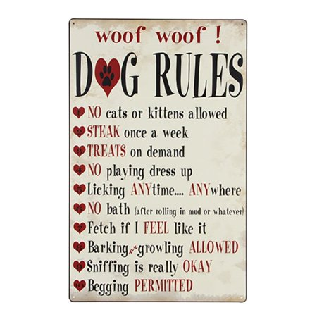 10 Dog Rules 16 X 10 Inch Tin Metal Sign