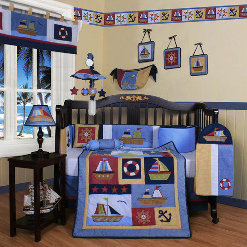 Geenny Boutique Baby Boy Sailor 13 Piece Crib Bedding Set