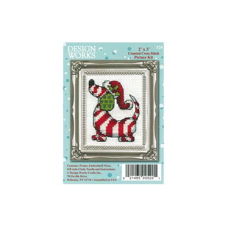 (Design Works Cross Stitch Kit 2x3 Candy Cane Dog)