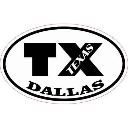 4in x 2.5in Oval TX Dallas Texas Sticker Car Truck Vehicle Bumper Decal - Halloween Parties Dallas Tx