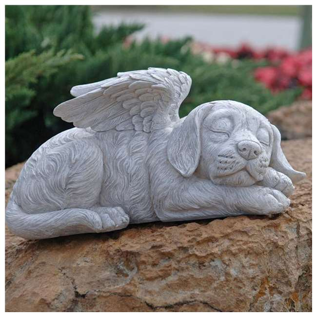 Design Toscano Lawn and Garden Outdoor Decor Stone Dog Memorial Angel Pet Statue