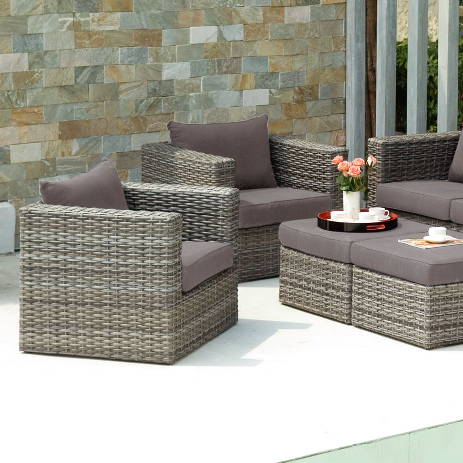 Southern Enterprises Talia Outdoor Deep Seating Club Chair with Ottoman - Set of 2