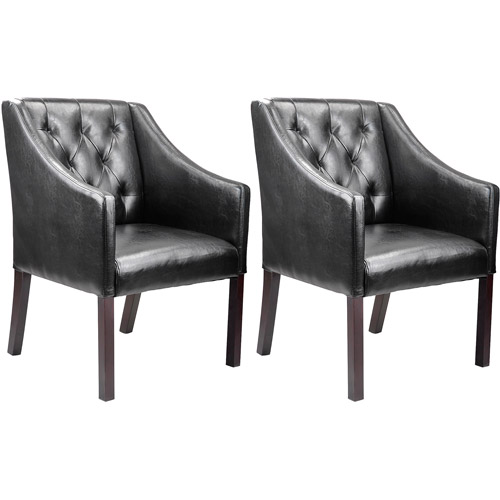 CorLiving Antonio Bonded Leather Accent Club Chair, Black, Set of 2