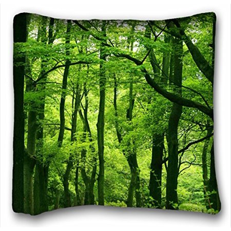 RYLABLUE Design Green Forest, Summer Pillow Cases Zippered , Standard Queen Size Nature Pillowcase Forests Cushion Covers Size 20x20 Inches Two Side Print - image 1 de 1