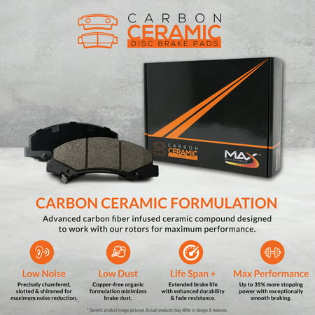 Max Brakes Front & Rear Carbon Ceramic Performance Disc Brake Pads KT153653 | Fits: 2004 04 2005 05 2006 06 Ford E150 - image 1 de 6