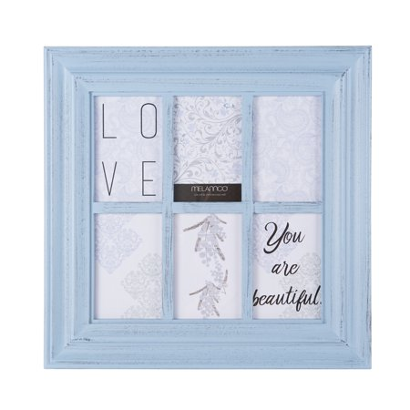 "Melannco 17"" Pale Blue 6 Opening Window Photo Collage , Picture Frame"