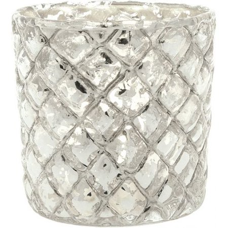 Luna Bazaar Vintage Mercury Glass Candle Holder (2.5-Inch, Small Andrea Design, Silver) - For Use with Tea Lights - For Home Decor, Parties, and Wedding Decorations Silver Mercury Glass Pineapple