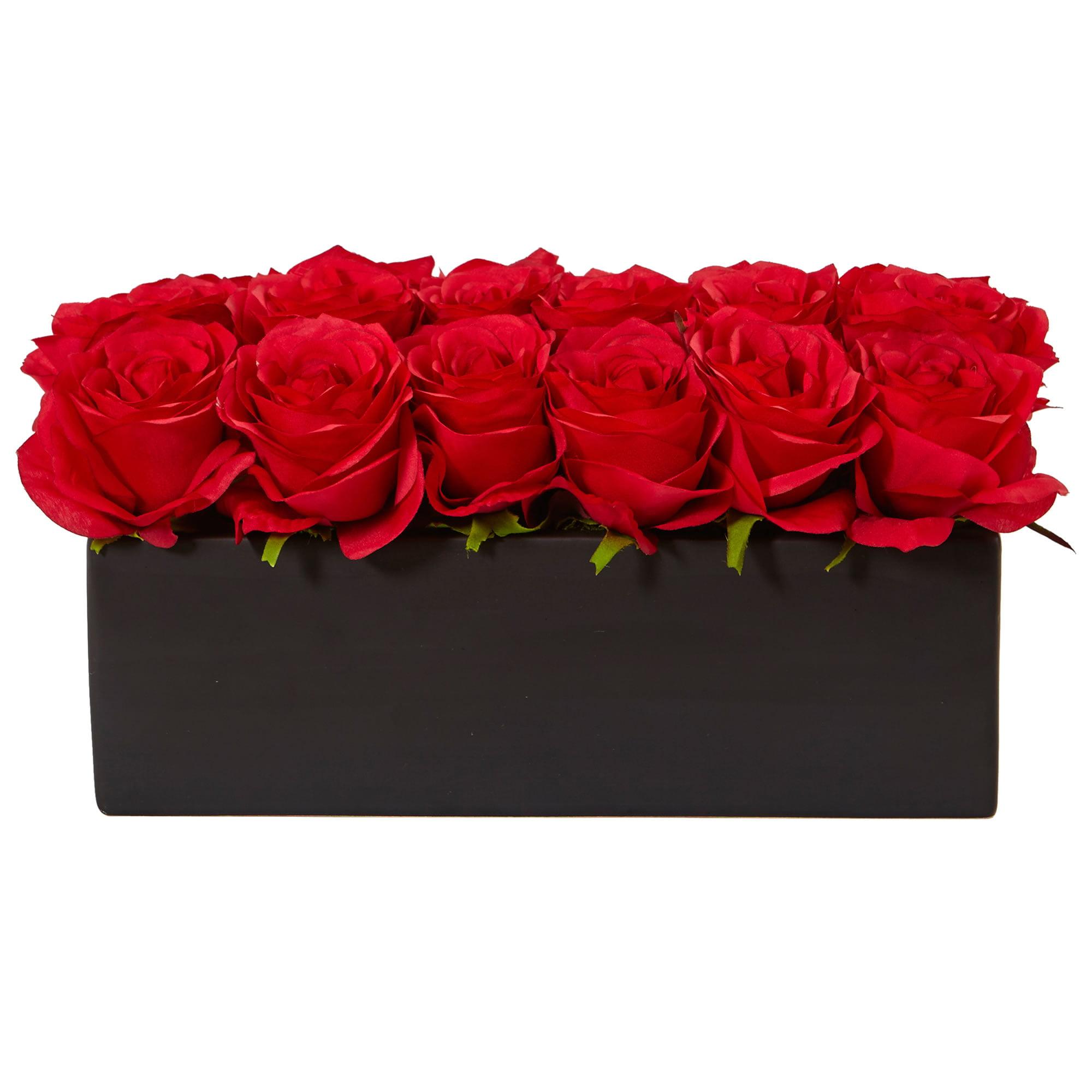 Nearly Natural Dozen Silk Roses in Rectangular Planter