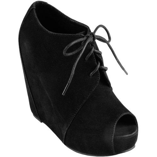 Brinley Co Women's Lace-up Peep Toe Wedge Bootie