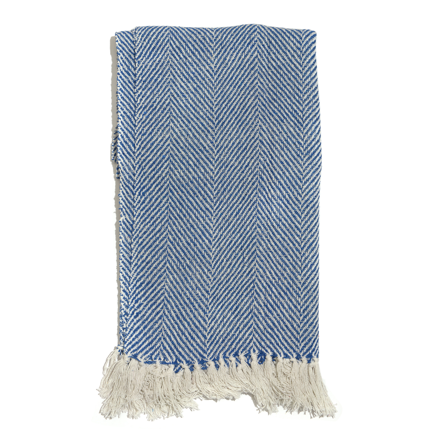 Blue 100% Cotton Twill Weave Throw 65x55 In
