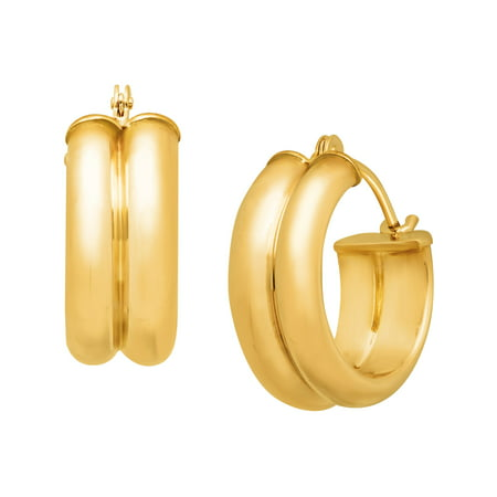 Just Gold Double Round Hoop Earrings in 14kt