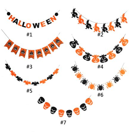 Yosoo 7Types Happy  Halloween Fabric String Banner Hanging Bunting Flag Garland Decor Party Ornaments,,Halloween Banner - Halloween Party Decors