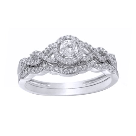 White Natural Diamond Frame Loose Braid Bridal Ring Set In Solid Gold (0.38 Cttw)