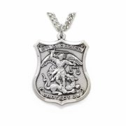 .925 Sterling Silver Engraved Saint St. Michael Shield Medal Patron Of Police Officers Popular Comes with a 24'' Chain Necklace in a deluxe velvet box