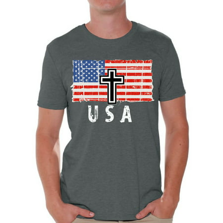 Awkward Styles Cross USA Men Shirt I'm American Vitage USA Flag T shirt for Men Religious Gifts USA Christian Men Tshirt USA Faith Retro USA Flag T-shirt for Men Gifts for Men